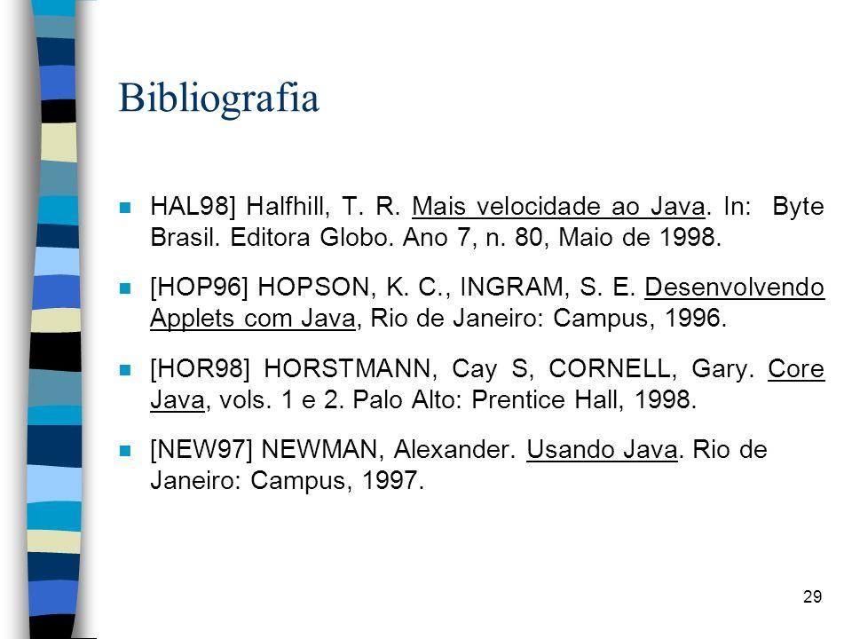 Bibliografia HAL98] Halfhill, T. R. Mais velocidade ao Java. In: Byte Brasil. Editora Globo. Ano 7, n. 80, Maio de 1998.